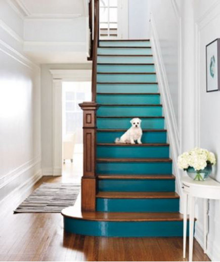 colorful painted staircase - green painted staircase with gradient color on the risers - allthingsgirlyandbeautiful via terrys fabrics and atticmg