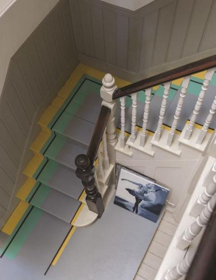 colorful painted staircase - Farrow and Ball multi color painted staircase runner - via atticmag