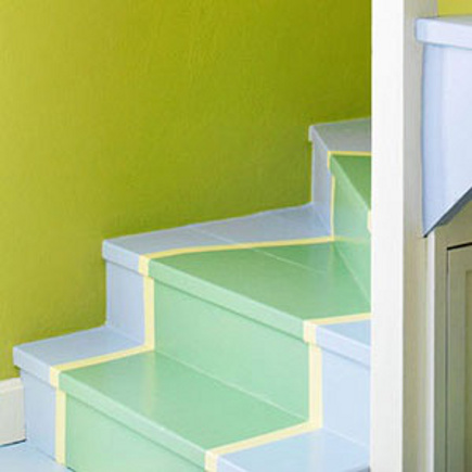 colorful painted staircase - green painted staircase runner - family circle via atticmag