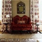 custom drapery details - Guy Goodfellow draperies in floral print linen fabric from B. Berger - H&G via Atticmag