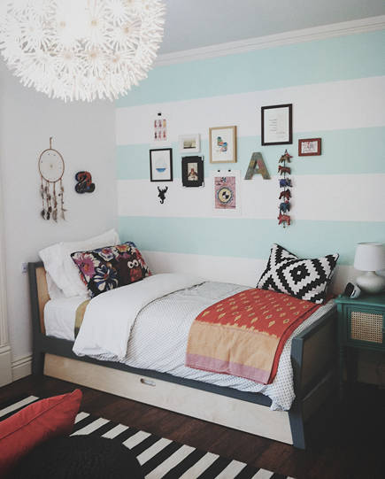 wide striped walls - wide horizontal stripe painted bedroom walls - chalk white arrow via atticmag