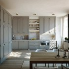 ceiling height cabinets - Gustavian gray Swedish kitchen at Karlavagen 76 via atticmag