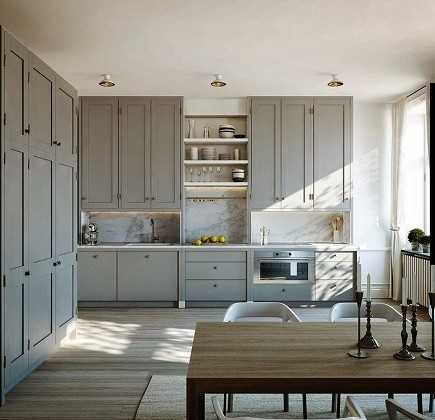 ceiling height cabinets - Gustavian gray Swedish kitchen at Karlavagen 76 via atticmag