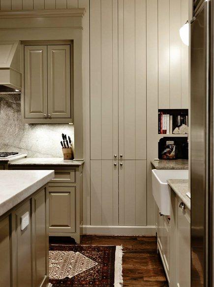 Ben Moore Coastal Fog kitchen cabinets by Standard Creative Birmingham AL