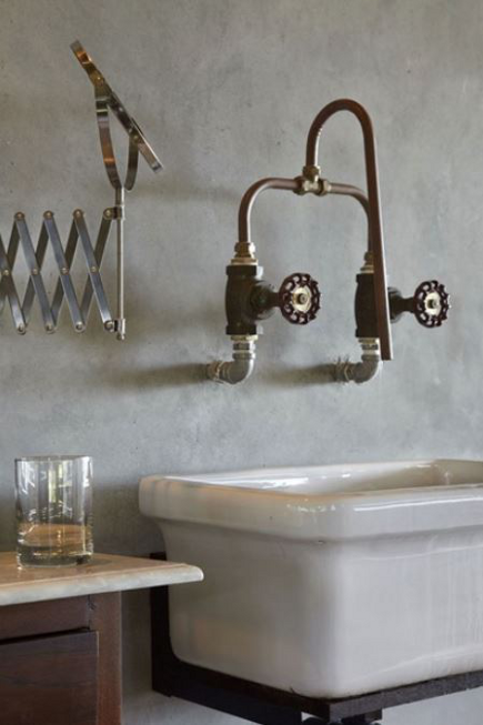 industrial style sink faucets - wall-mounted faucet made from copper piping and industrial water shut-off valves - building bloc via atticmag