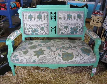 redone Aesthetic Movement settee at the Re-Purpose booth, Country Living Fair, Rhinebeck, NY - atticmag