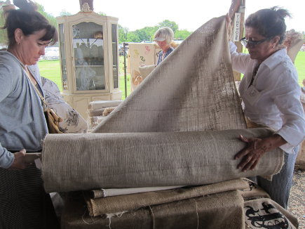 selling burlap by the yard at the Country Living Fair in Rhinebeck, NY - atticmag