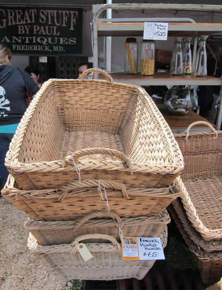 French laundry baskets Great Stuff by Paul Antiques at the Country Living Fair - atticmag