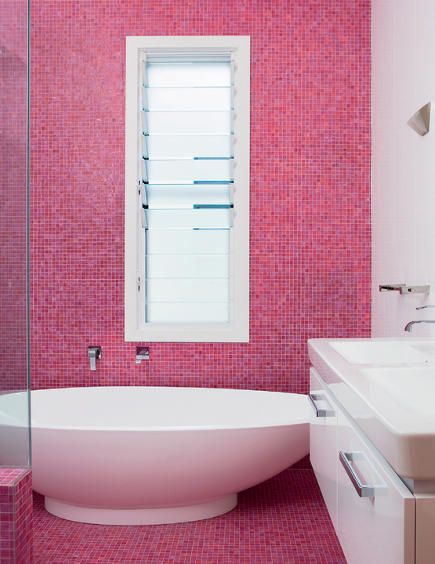 all over tiling - raspberry tile bath with mosaic on floor and walls - James Morrison Construction via Attimag