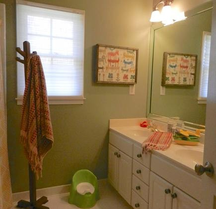 child's bathroom renovation - guest bathroom remodel via Atticmag