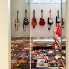 record album cover floor - vintage record album covers repurposed as floor covering - DIMIT Architects via Atticmag
