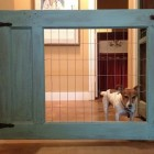 custom pet gates - wood and wire pet gate - kathy barker pinterest atticmag