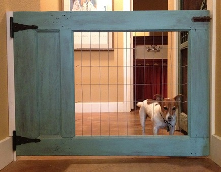 custom pet gates - wood and wire pet gate - Kathy Barker Pinterest via Atticmag
