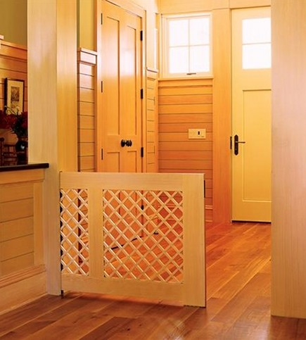 custom pet gates - wood and lattice pet pocket gate - Custom Home Online via Atticmag