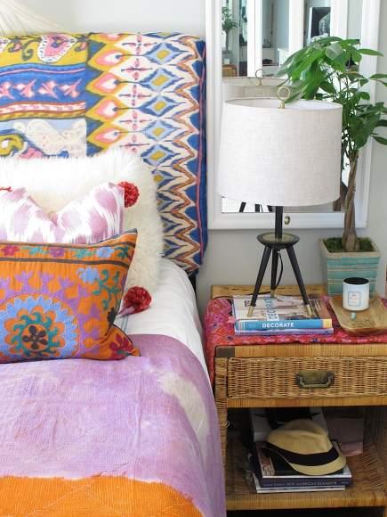 boho bedroom - bohemian style bedding - Amber Interior Designs via Atticmag
