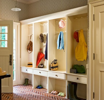 Mudroom storage - entry with drawers and hanging space. forbes.com via Atticmag