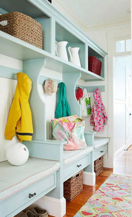 mudroom storage - with choir-stall cushioned seats and armrests. bh&g via Atticmag
