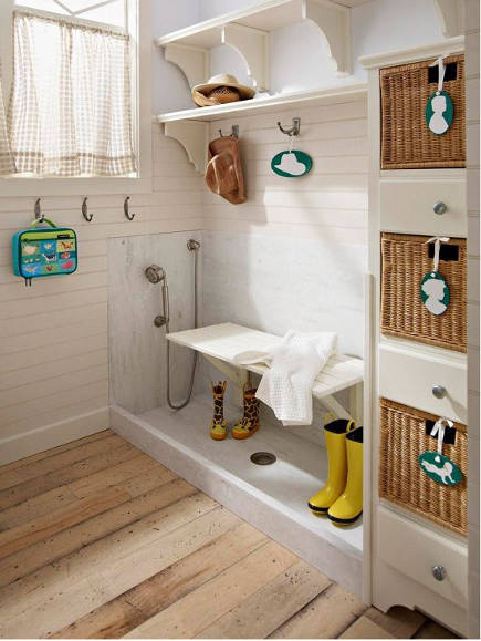 mudroom storage - with shelving, hooks and basket storage plus a floor sink and hand shower. bh&g via Atticmag