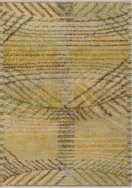 vintage rugs - antique Barbro Nilsson Rya rug, yellow and gray - Nazmiyal via Atticmag