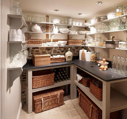 kitchen pantry ideas - with counter and open shelving - Chalone via Atticmag
