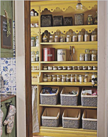 kitchen pantry ideas - Provence yellow pantry with lace-edge shelves - the kitchen pantry ideas via Atticmag