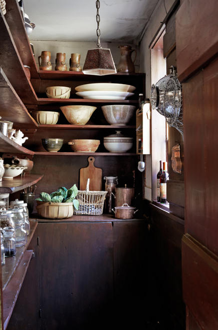 kitchen pantry ideas - Vermont farmhouse primitive pantry - Country Living via Atticmag