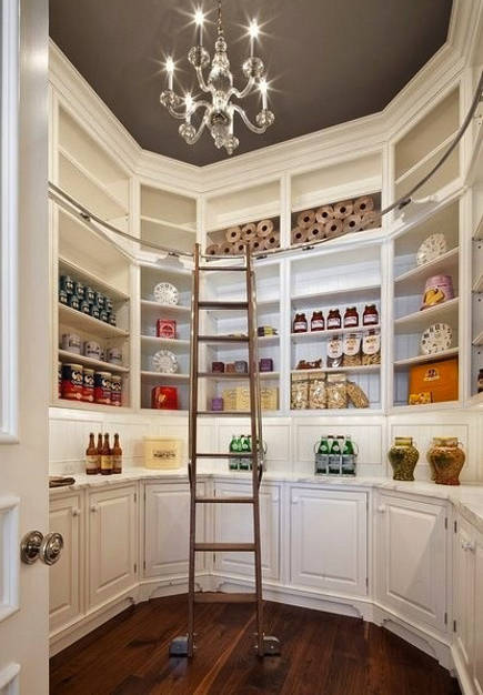 kitchen pantry ideas - formal white pantry with library ladder - decorpad via atticmag