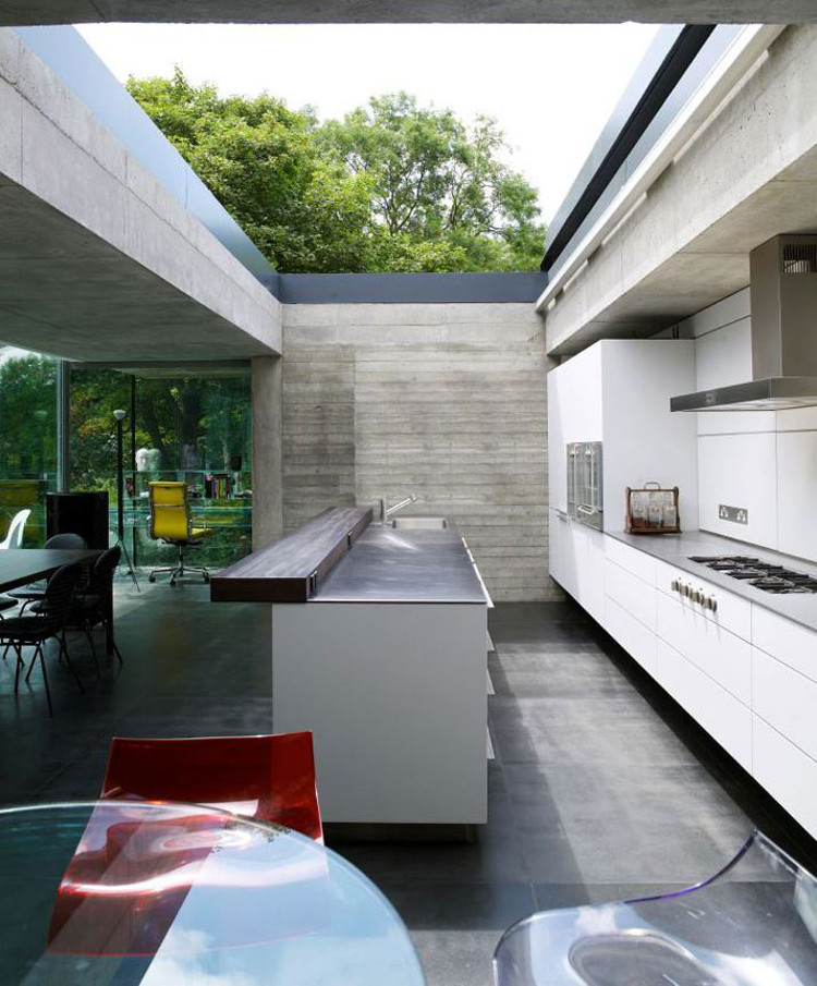 retractable skylight kitchen - Elliott House white kitchen with retractable roof - yatzer via Atticmag
