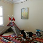 colorful playroom - childrens playroom with FLOR carpet tiles via Atticmag