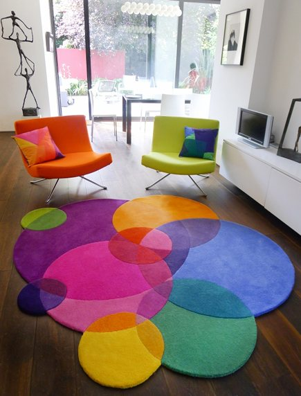 Bubbles Square contemporary rug by Sonya Winner Studio