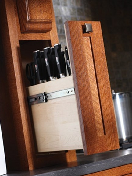 custom kitchen cabinet ideas - pull out knife storage - Dura Supreme Cabinetry via Atticmag