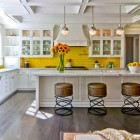 yellow kitchen features - white kitchen with taxi yellow backsplash - barry dixon via atticmag