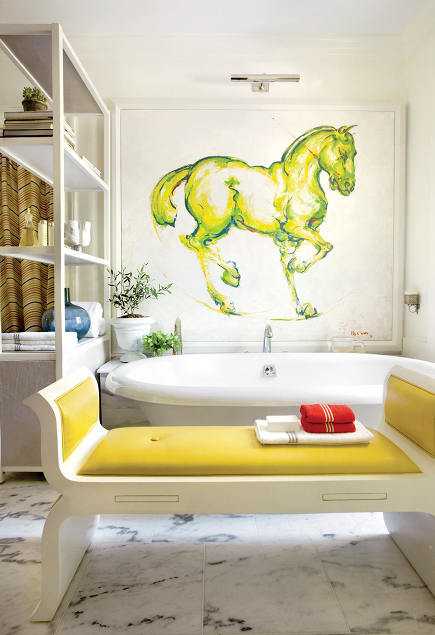showhouse saffron yellow master bath by Raymond Goins via Atticmag