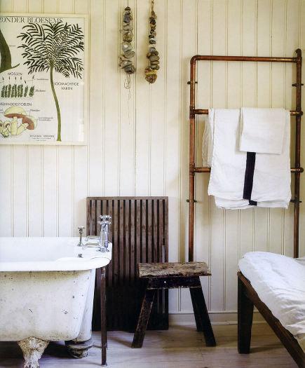custom towel racks - industrial style exposed copper bathroom towel rack - Simple Home via Atticmag