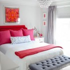gray guest bedroom with bright pink accents from Kiki's List via Atticmag