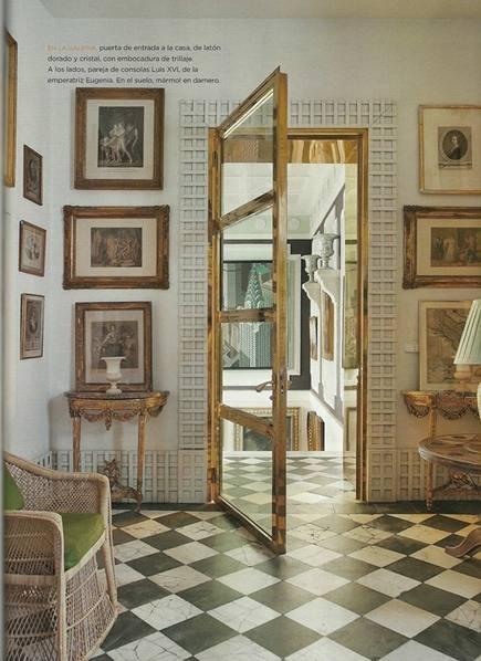 brass and galss interior door in Madrid apartment by Lorenzo Castillo via Atticmag