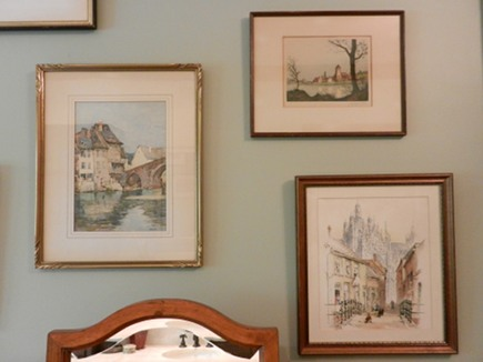 bathroom picture wall - European etching collection via Atticmag