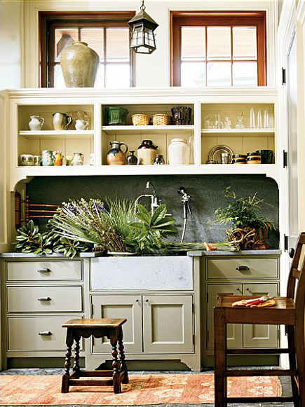 mudroom sinks - udroom with flower cutting sink - southaccents via atticmag