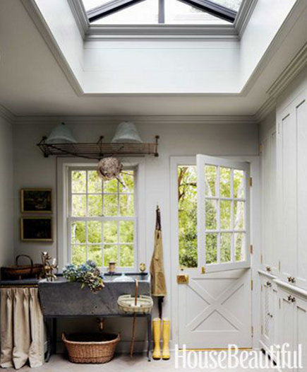 mudroom sinks - Mudroom with free standing soapstone farm sink - House Beautiful via Atticmag