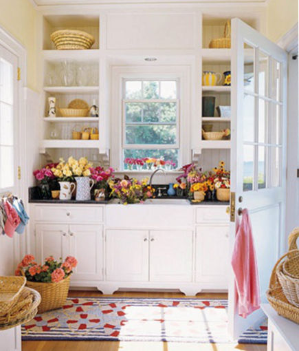 mudroom sinks - Cottage style flower cutting sink mudroom - House Beautiful via Atticmag
