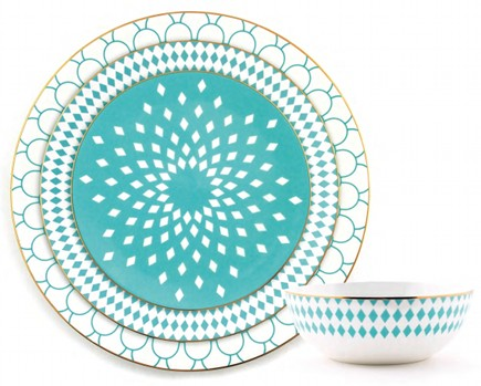 gold and turquoise dinnerware from B By Brandie via Atticmag