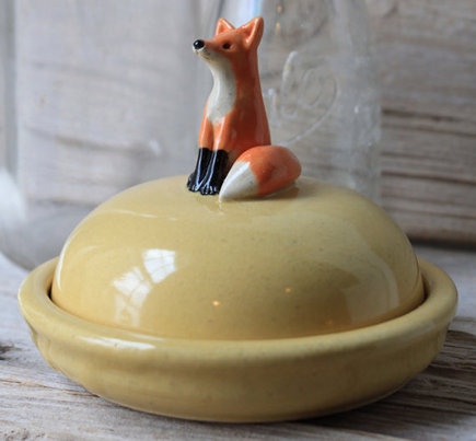 animal themed pottery with fox by Tasha McKelvey via Atticmag