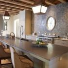 round interior window - kitchen with round interior window from Style Blueprint via Atticmag