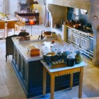 shallow kitchen sinks - prep sink worked into an island counter - pinterest via atticmag