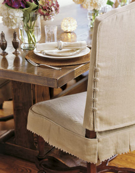 Dining Chair Slipcovers   Linen Slipcover With Button Detail   Duispy Via  Atticmag