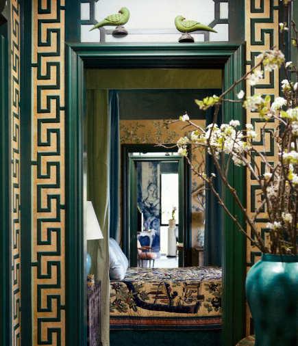 Greek Key Motif   Gold Greek Fret Border Around A Green Painted Doorway    Veranda