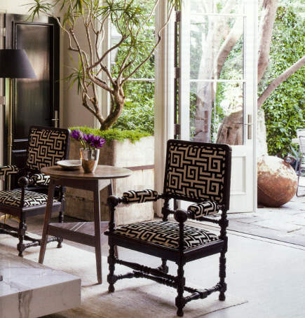 greek key motif - Greek key pattern upholstery on a frame chair - Veranda via Atticmag