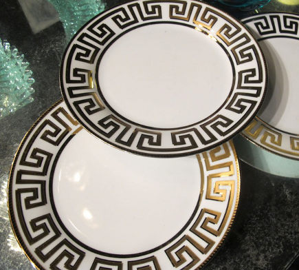 greek key motif - greek Key design on dinnerplate borders - Elle G via Atticmag