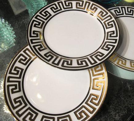 greek key motif - greek Key design on dinnerplate borders - Elle G via Atticmag