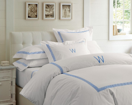 greek key motif - blue Greek key banding on bed linens - Williams-Sonoma via Atticmag